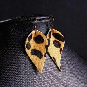 Leather Leopard Soft Teardrop Shape Drop Earrings!